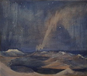 Elegy to the Northern Lights Svalbard - oil on canvas - SOLD