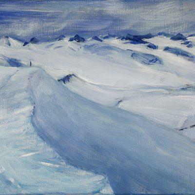Ski Tour above Gronfjord Svalbard - oil on canvas 30 x 40 cm £375 unframed