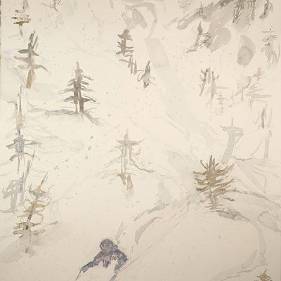 Deep Powder Dream on Buchet in Valle Maira - 75 x 55 cm sketch on watercolour paper £475