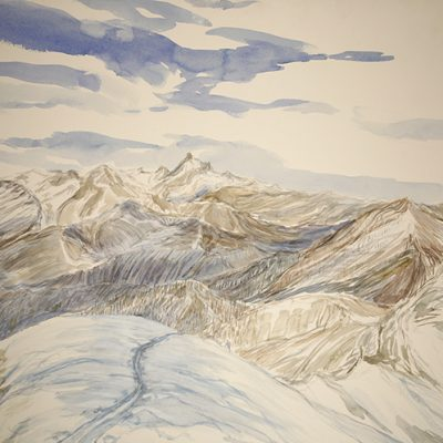 In Monte Viso's Horizon from Summit of Bric Boscasso - watercolour on paper 55 x75 cm started in 2016