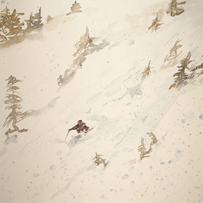 Snow in the Rock Garden Zermatt - watercolour sketch on paper 55 x75 cm  £475