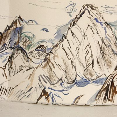 Day 5 April 25 Mont Pelvoux from Refuge du Glacier Blanc with black hut dog - painted with small brush from tiny watercolour set I carried on the 6 day trip