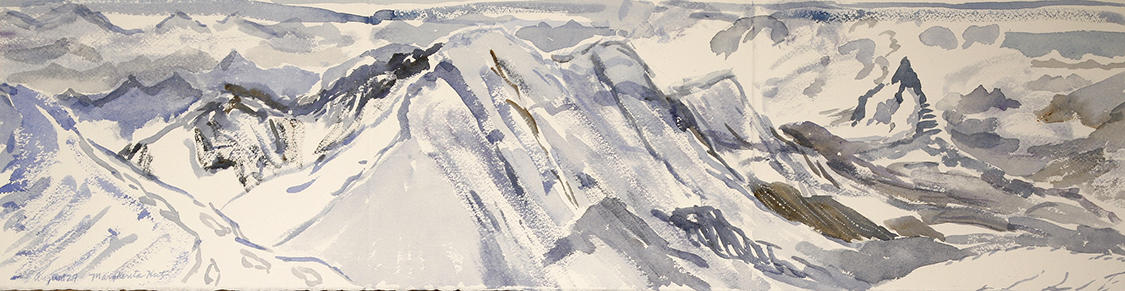 View from Margherita Hut   to Lyskamm - painted at 4554 meters / watercolour on paper