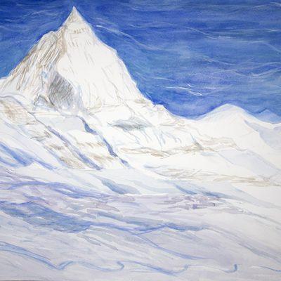 Furgg glacier powder skiing Zermatt Matterhorn alpine painting