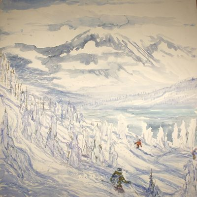 Finding a Path - Canadian Wilderness Monashees  Mt - watercolour on paper  111 cm x 105 cm - £975