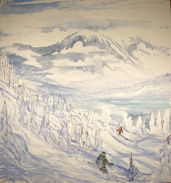 monashees powder Canada alpine painting