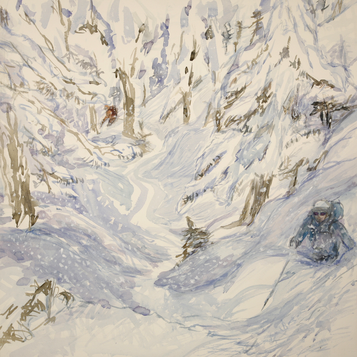 powder in trees zermatt alpine painting