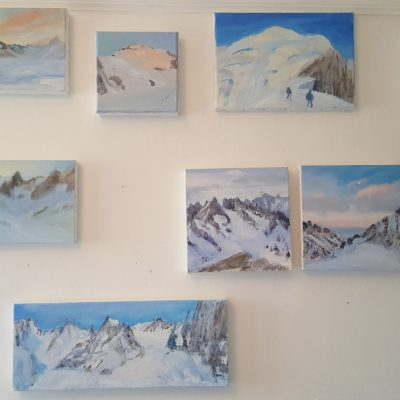 Small oils on canvas from Ecrins Haute Route April 2018