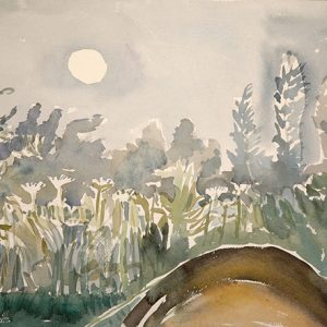 Full Moon over My Tent, Field Barn Park - sketch in the morning