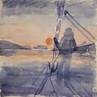 Sailing into setting Sun Lyngen Fjord Norway watercolour on paper -   35 x 36 cm £275