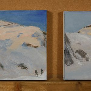 Two small oils of the Dome De Neige Ecrins