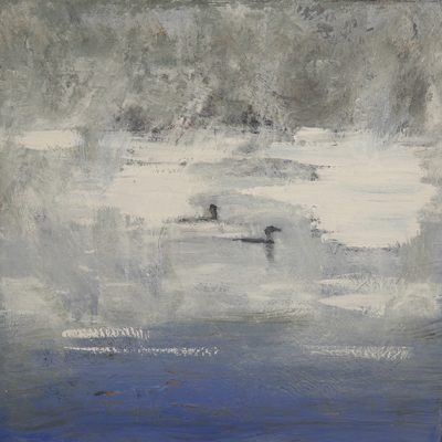 loons songo pond mist painting