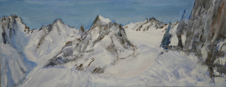 Ecrins Haute Route Col du Monetier - oil on canvas 20 x 50 cm £475