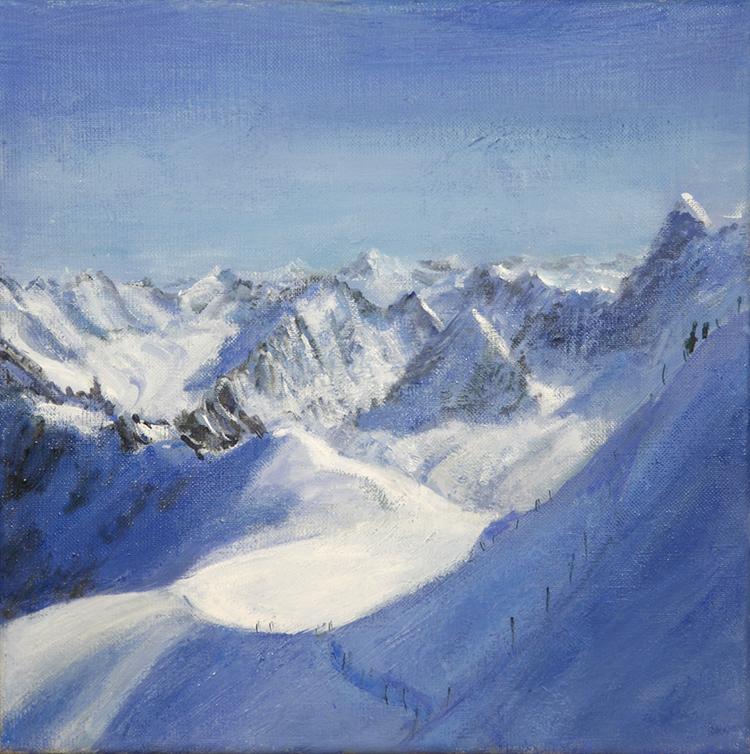 aiguille du midi descent valle blanche alpine painting