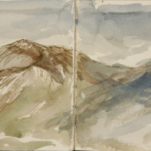 Drawing of Mt Washington Presidential Range New England, from plane window from sketchbook