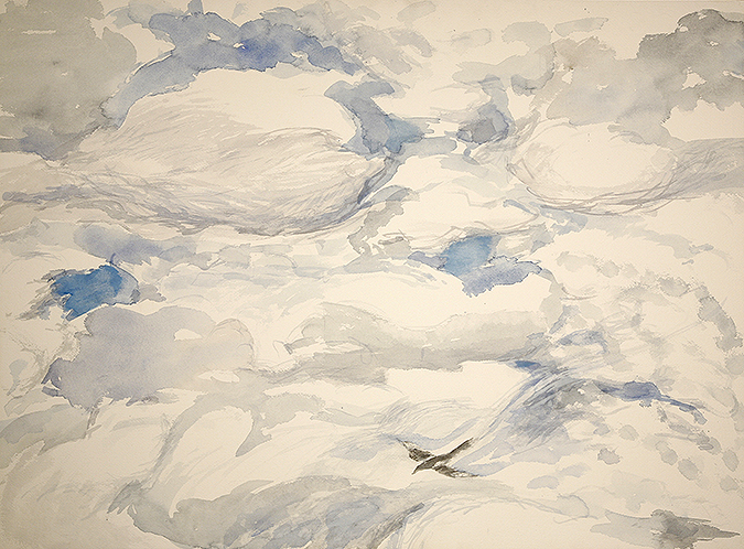 magpie cloud formations painting