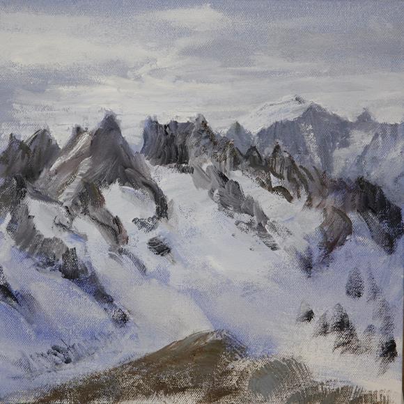 Dome de Neige Ecrins Haute Route painting alpine skiing