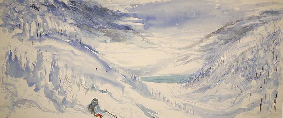 Powder day in the Monashee Mountains - 49 x 1112 cm watercolour on paper £675