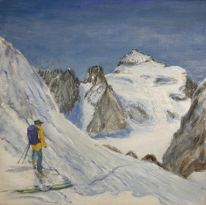 dome des neiges des ecrins painting alpine