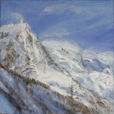 View to Aiguille du Midi from Chamonix - oil on canvas 30 x 30 cm