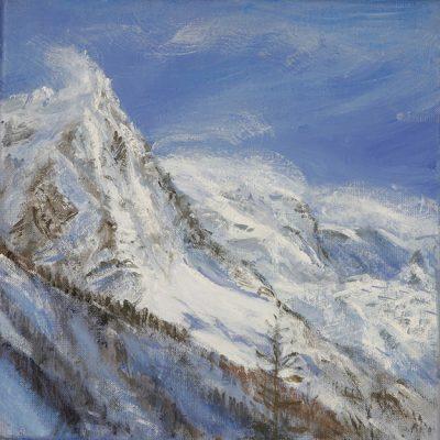 Aiguille du Midi from Chamonix - oil on canvas 30 x 30 cm £475 unframed
