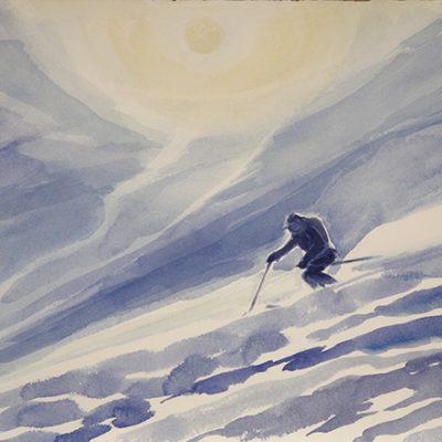 The Powder Ridge in the Monashees Canada - watercolour on paper 30 x 51 cm £375