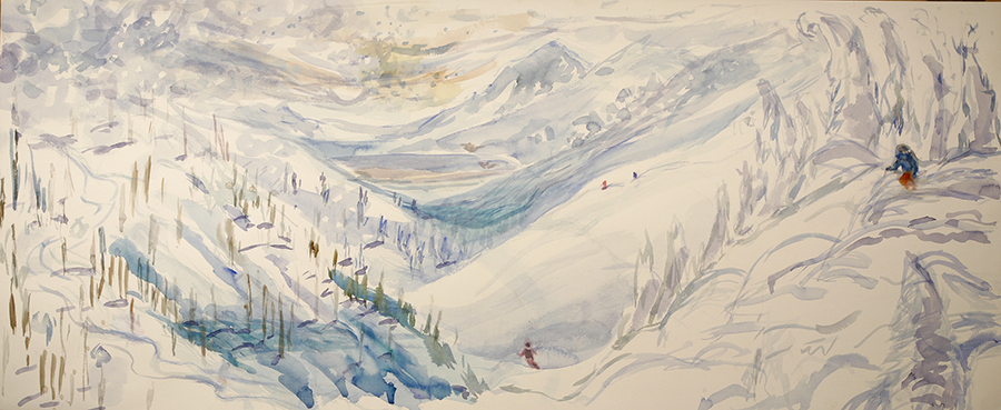 Monashee powder filled mountains Canada - watercolour on paper 46 x 112 cm  £675