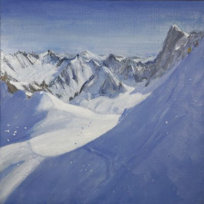 Descent to Valle Blanche oil on jute canvas 56 x 56 cm