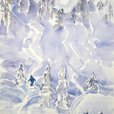 Deep Powder on Bella /K3 Cat Skiing - watercolour on paper 55 x 36 cm £375