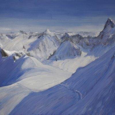 In Progress - Descent to Valle Blanche Chamonix - oil on canvas 61 x 76 cm