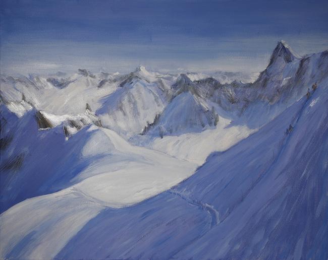 Descent to Valle Blanche Chamonix