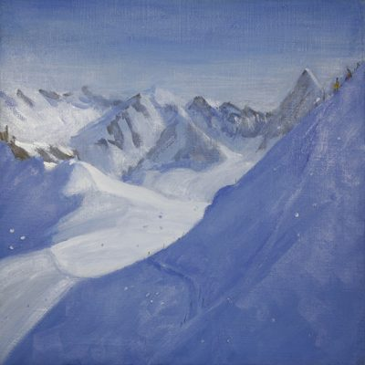Descent to Valle Blanche Chamonix - oil on canvas 56 x56 cm