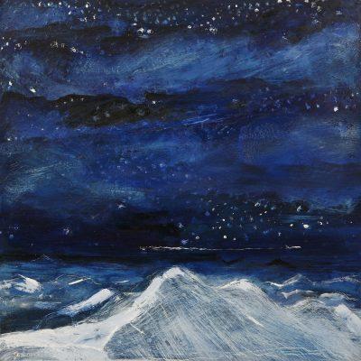 Night Flight across the Alps - 25 x 25 cm oil on panel £325