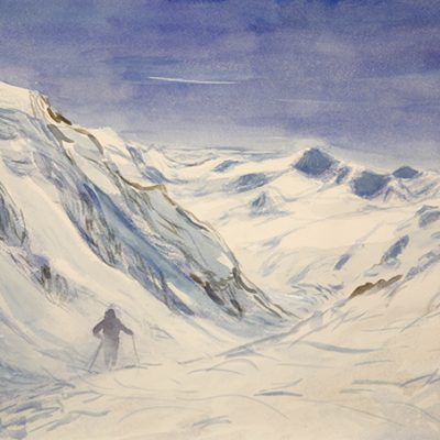 branca hut Ortler Ortles ski touring alpine painting