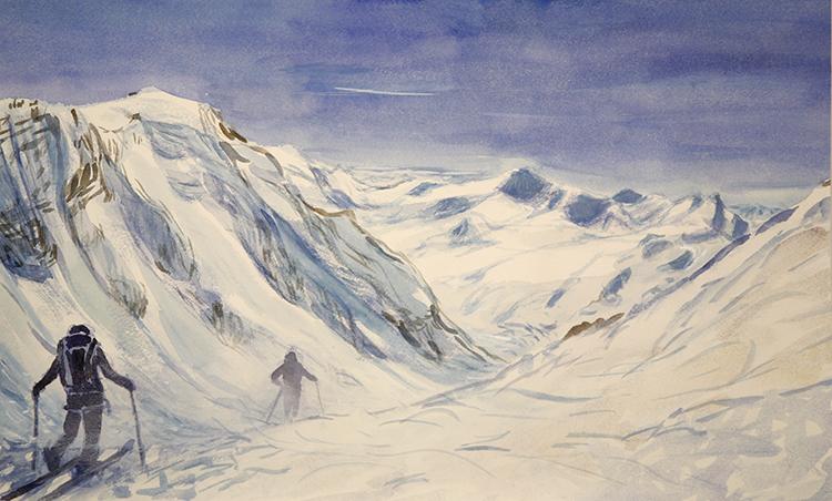 branca hut Ortler Ortles ski touring alpine painting