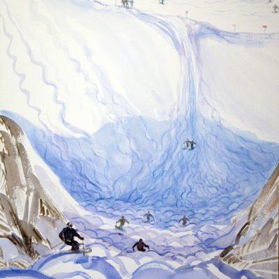 Looking down Mogul Field St Anton - watercolour on paper 75 x 55 cm £500