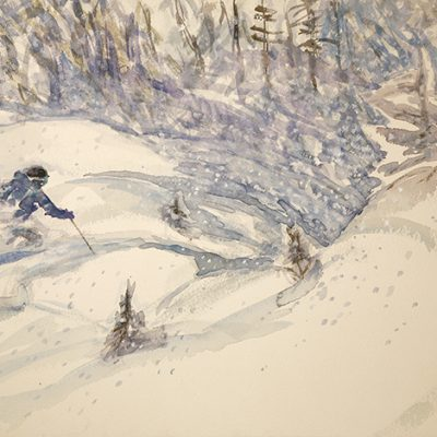 Powder in Rifflsee in Pitztal - watercolour on paper 38 x 57 cm £375