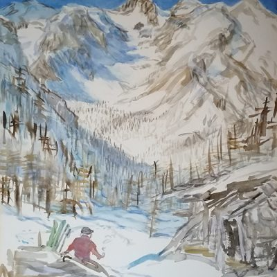 bric boscasso alpine alps painting watercolour italy ski touring