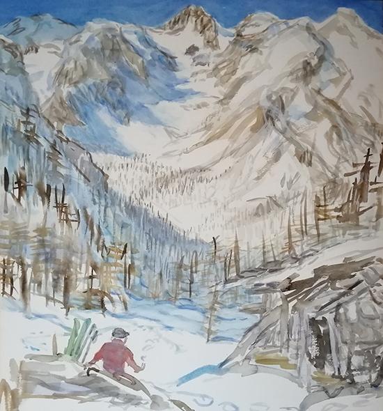 bric boscasso alpine alps painting watercolour italy ski touring