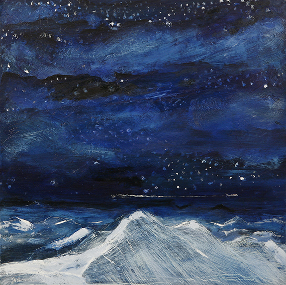 night flight alpine painting oil