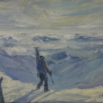 ecrins haute route monetier oil painting alpine