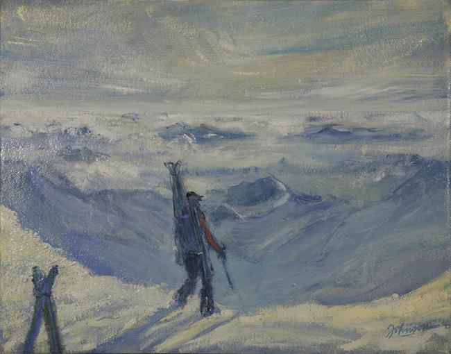 ecrins haute route monetier oil painting alpine