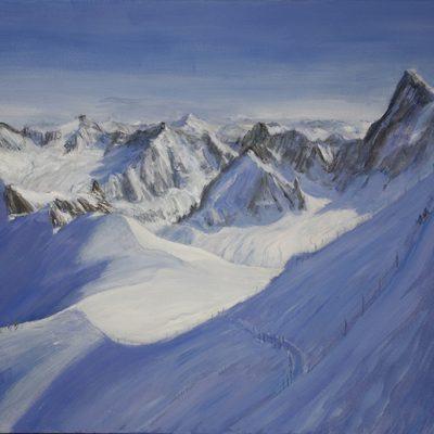 Valle Blanche Chamonix alpine painting