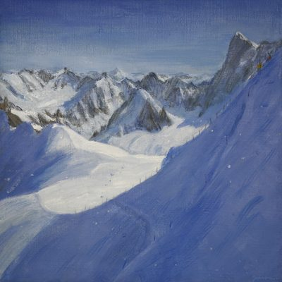 ski painting aiguille du midi descent valle blanche alpine skiing