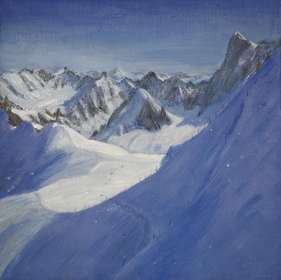 ski painting aiguille du midi descent valle blanche alpine skiing
