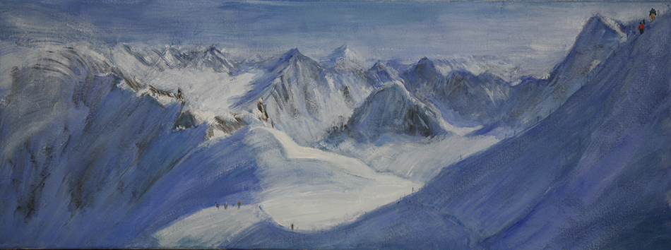 Third version of composition of Descent to Valle Blanche - 30 x 80 cm