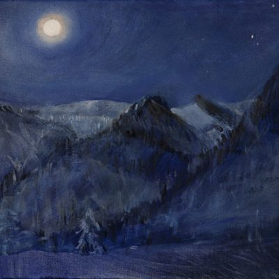 viviere rifugio oil painting alpine