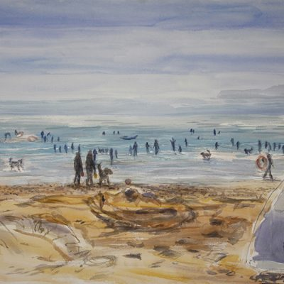 camber sands painting watercolour
