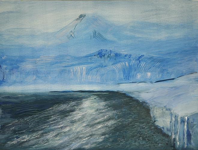 svalbard glacier esmarkbreen oil painting arctic