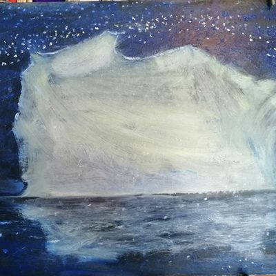 Obstacle Iceberg  - oil on hardboard 46 x 61 First State large shape